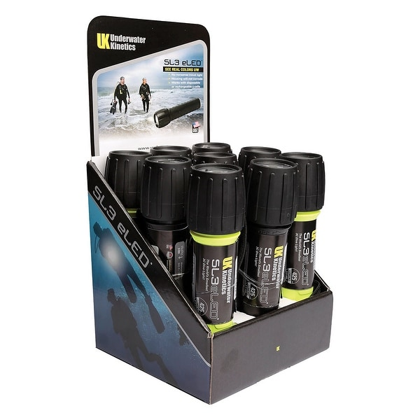 UK SL3 eLED (L2) 9-Pack Display w/Batteries, 5 Safety Yellow/4 Black Dive Ligh - Yellow