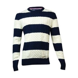 Tommy Hilfiger Men's Striped Cable Knit Sweater (L, Navy/Ivory) - L