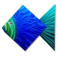 Statements2000 Blue/Green Tropical Metal Wall Art Accent Sculpture Decor by Jon Allen - Big Blue Fish