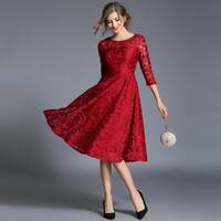 Floral Lace Midi Cocktail Dress