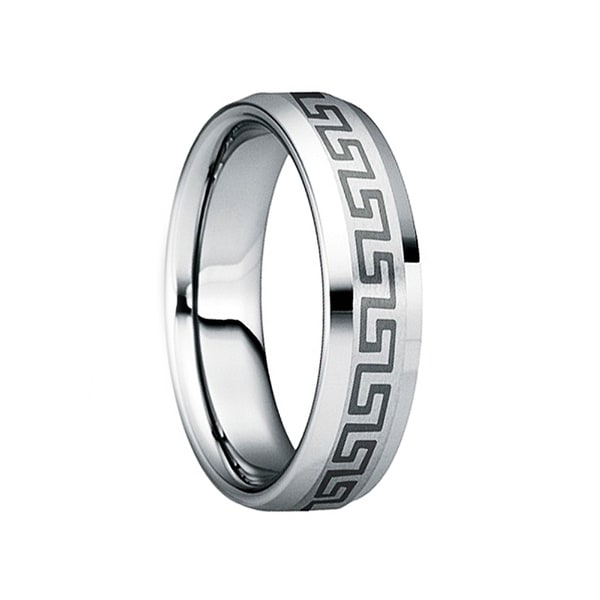 SATURNINUS Tungsten Wedding Band with Engraved Greek Key Motif & Polished Finish by Crown Ring - 6mm