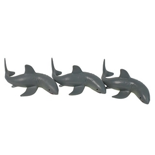 """Set of 3 Gray and White Shark Frenzy Swimming Pool Dive Toys - 7"""" - N/A"""