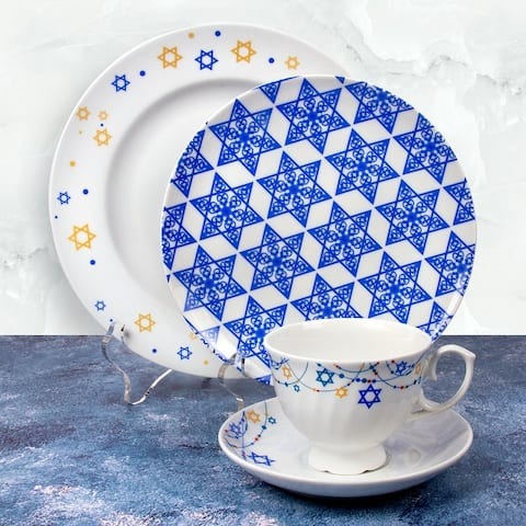 STP Goods 4Pc Judaica Stars Collection Porcelain Dinnerware Set Cup and Saucer, Salad Plate & Dinner Plate