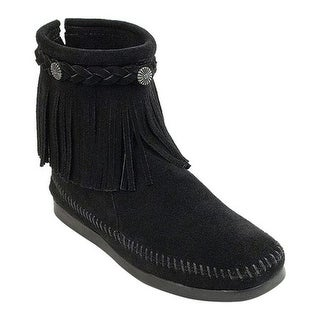 Minnetonka Women's Hi Top Back Zip Boot Black Suede