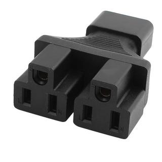 125V 15A 3 Prong Adapter IEC 320 C14 to 2 US NEMA 5-15R Receptacle Black