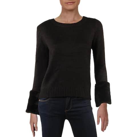 Philosophy Womens Crewneck Sweater Ribbed Trim Knit - Black
