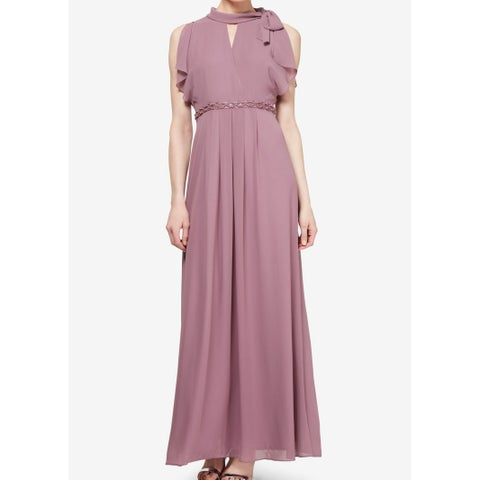 SLNY Purple Women's Size 12 Embellished Ruffle Trim Gown Dress
