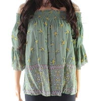 Angie Women's Large Smocked Floral Print Blouse