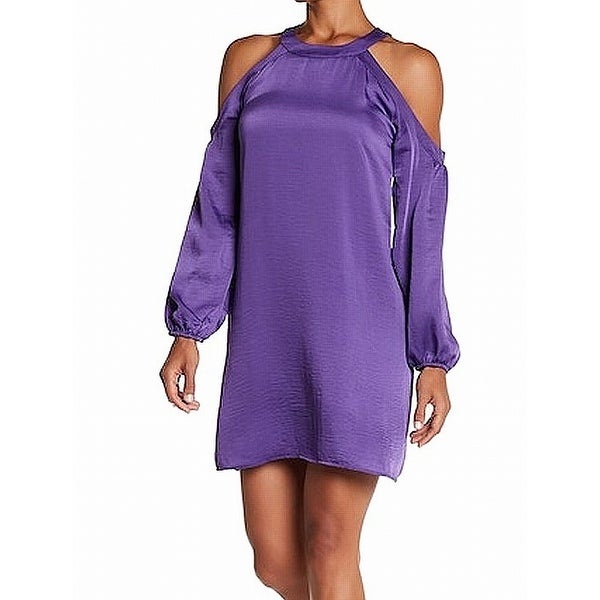 NSR Purple Womens Size Small S Satin Cold-Shoulder Shift Dress