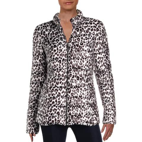Aqua Womens Packable Coat Fall Animal Print