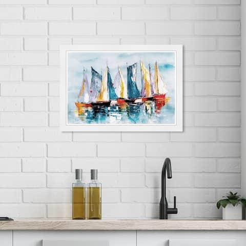 Wynwood Studio 'Beautiful Boat Day' Nautical and Coastal Blue Wall Art Framed Print