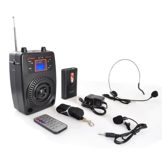Portable PA Speaker System, Microphone & Music Player, FM Radio, Includes Lavalier/Headset Mics