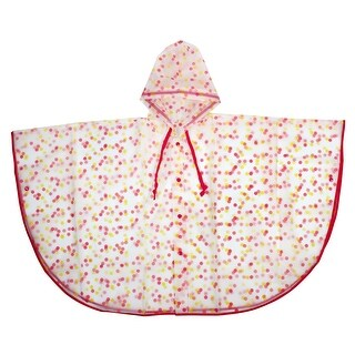 Mefine Authorized Dot Printed Water Resistent Rainwear Raincoat Poncho Pink M