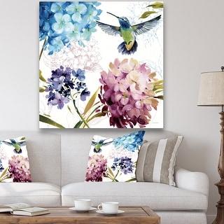 Porch & Den Hummingbird Blue Cottage Flower' Farmhouse Canvas Artwork