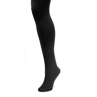 Muk Luks Tights Womens Fleece Lined Elastic Waist Black