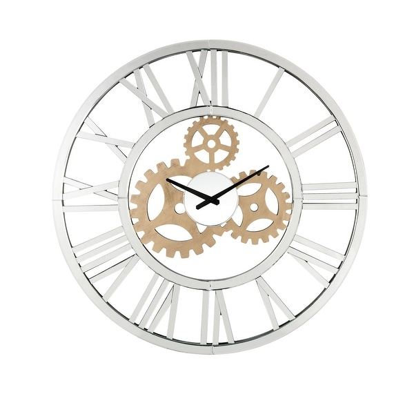 Round Mirror Panel Open Frame Wall Clock with Gear Design, Silver. Opens flyout.