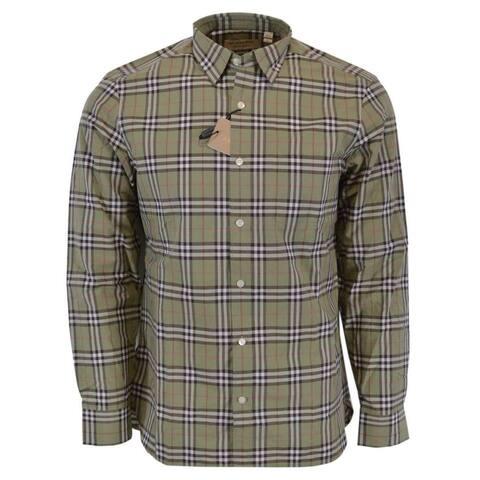 Burberry Brit Men's ALEXANDER Powder Green Nova Check Cotton Shirt