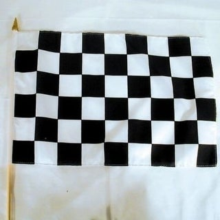 6 Checkered 11 X 18 In Flags On Stick Racing Flag Race Car Finish Black White