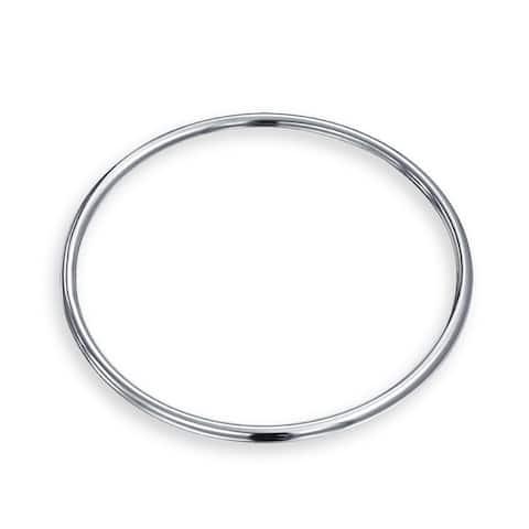 Stackable 3MM Smooth High Bangle Bracelet High 925 Sterling Silver - 8
