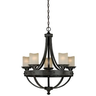Vaxcel Lighting H0135 Halifax 5 Light Single Tier Chandelier with Glass Shades - 24.5 Inches Wide