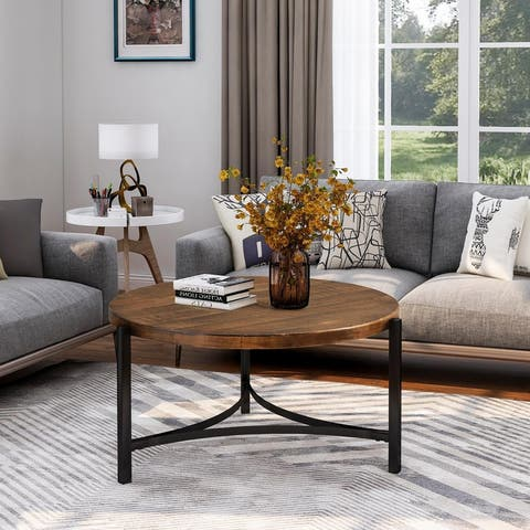 Round Coffee Table Industrial Style Tea Table