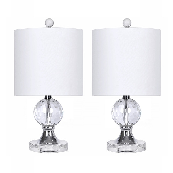 """17.5"""" Crystal Table Lamps w/ Chrome Accents & Luxurious Silk-Like Shades (Set of 2). Opens flyout."""