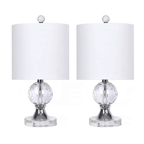 """17.5"""" Crystal Table Lamps w/ Chrome Accents & Luxurious Silk-Like Shades (Set of 2)"""
