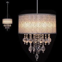 Gymax 4-Light Semi Pendant Crystal Chandelier Brushed Chrome Finish Ceiling Light UL - as pic