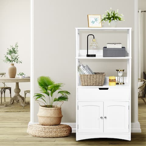 Bathroom Storage Cabinet with Drawer and 2 Open Shelves