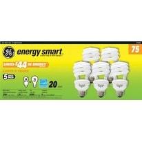 GE 97249 Energy Smart T3 Spiral Fluorescent Bulb 20W Soft White