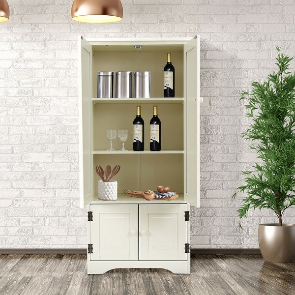 Accent Storage Cabinet Adjustable Shelves Antique 2 Door Floor Cabinet White