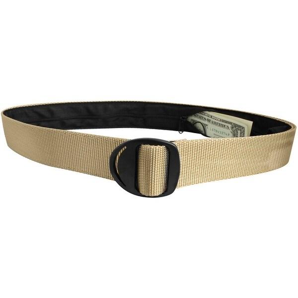 Bison Designs Crescent Black Buckle Money Belt - Desert Sand