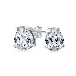 Bling Jewelry Classic CZ Teardrop Stud earrings 925 Sterling Silver 9mm