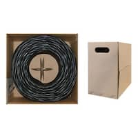 Offex Plenum Cat6 Bulk Cable, Black, Solid, UTP (Unshielded Twisted Pair), CMP, 23 AWG, Pullbox, 1000 foot