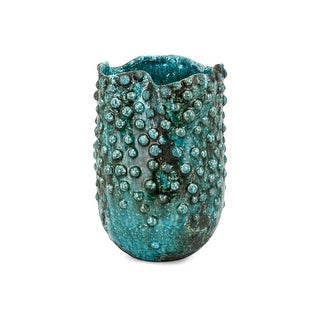 Crackled Texture Ceramic Vase with Wavy Opening, Small, Blue