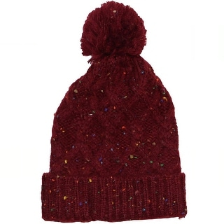 69e27b0ba12fc Shop Steve Madden Women s Speckled Cable Knit Pom Pom Top Cuffed Beanie Hat  Dark Red - One Size Fits Most - Free Shipping On Orders Over  45 -  Overstock - ...