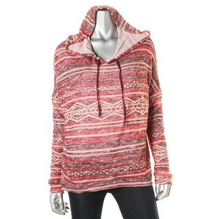 Hooked Up by IOT Womens Juniors KNit Dolman Sleeve Hooded Sweater