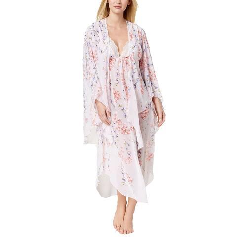 Linea Donatella Women's Deandra Floral Print Kimono Robe, (Multi Small/Medium) - Small/Medium