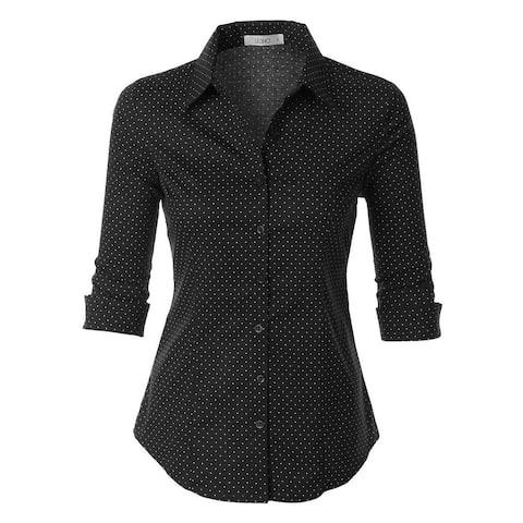 Polka Dots Button Down 3/4 Sleeve Tailored Shirt
