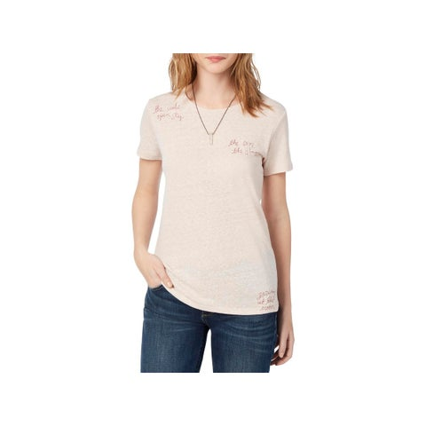Lucky Brand Womens Wide Open Sky T-Shirt Embroidered Short Sleeves