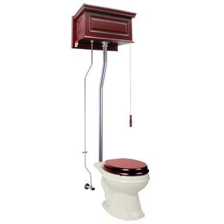Cherry Wood Raised High Tank Pull Chain Toilet Bone Elongated Satin Rear Entry