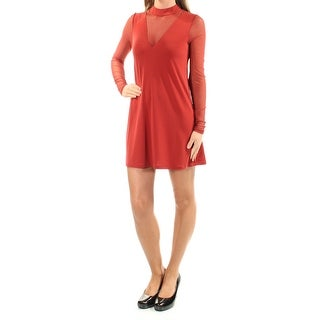 Womens Red Long Sleeve Mini Shift Party Dress Size: 2XS