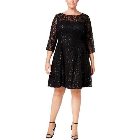 SL Fashions Womens Plus Cocktail Dress Lace Sequined
