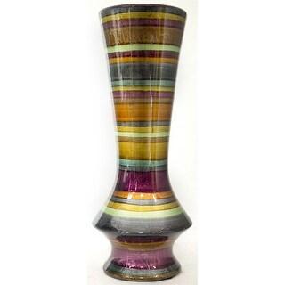 "20"" Ceramic Floor Vase - Ceramic, Lacquered In Eggplant, Bronze, Gold, Green, Copper And Pewter"