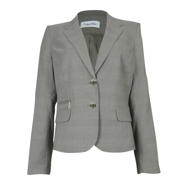 Calvin Klein Women's Pocketed Checker Blazer