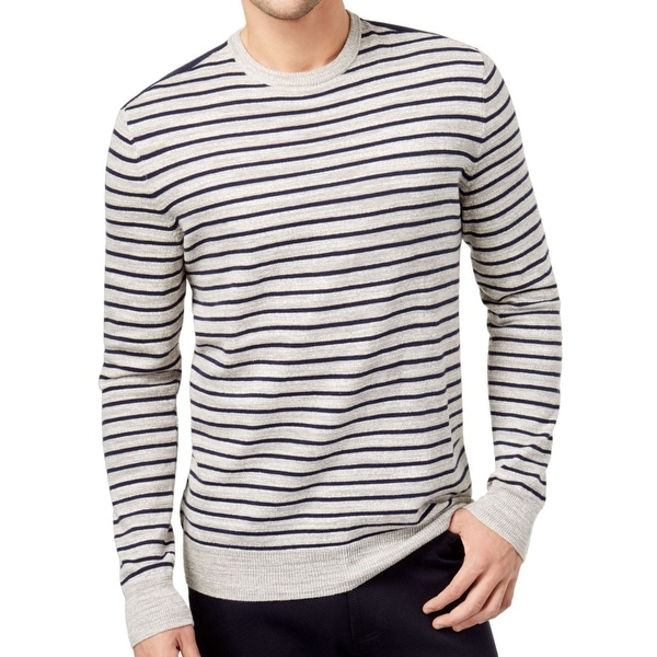 d8037a0f0 Shop Club Room Navy Mens Pullover Crewneck Striped Sweater - On Sale ...