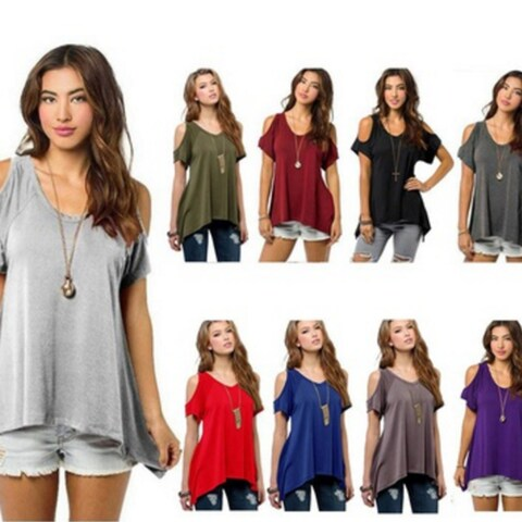 Women Fashion Off Shoulder Ladys Casual Loose T-shirts Tops Soft Cotton Blouse
