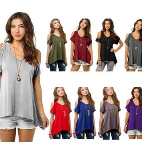 ea44e5863e Women Fashion Off Shoulder Ladys Casual Loose T-shirts Tops Soft Cotton  Blouse