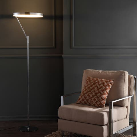 """Owen 66.7"""" Integrated LED Metal Floor Lamp, Chrome by JONATHAN Y"""