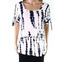 COM.plete White Blue Womens Size Medium M Tie Sleeve Knit Top